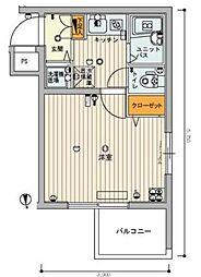 東京都豊島区要町1丁目の賃貸マンションの間取り