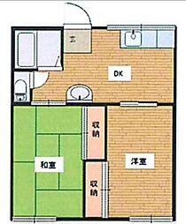 神奈川県秦野市鶴巻北3丁目の賃貸アパートの間取り