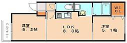 福岡県福岡市南区塩原4丁目の賃貸アパートの間取り