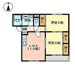 愛知県岡崎市北野町字東河原の賃貸アパートの間取り