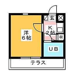 コーポ花の樹[1階]の間取り