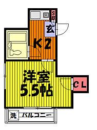 カサリーザ草加吉町[201号室]の間取り