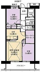 URアーバンラフレ虹ヶ丘南6号棟[5階]の間取り