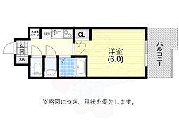 阪神本線 春日野道駅 徒歩6分の賃貸マンション 4階1Kの間取り