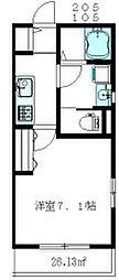 東京メトロ丸ノ内線 新高円寺駅 徒歩12分の賃貸マンション 1階1Kの間取り
