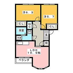 サンパレス[2階]の間取り