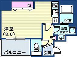 アスヴェル神戸元町II 4階1Kの間取り