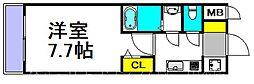 S-RESIDENCE三国 4階1Kの間取り