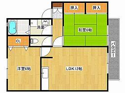 兵庫県姫路市飾磨区矢倉町1丁目の賃貸アパートの間取り