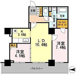 カスタリアタワー長堀橋[2103号室]の間取り