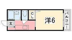 リヴェール田寺[202号室]の間取り