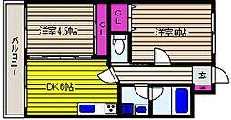 兵庫県神戸市東灘区御影塚町4丁目の賃貸アパートの間取り