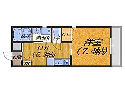大阪府堺市北区北花田町3丁の賃貸マンションの間取り