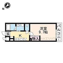 仮称)東近江市佐野町新築アパート 1階1Kの間取り