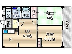 レガセ増井[1階]の間取り
