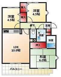 千葉県松戸市八ケ崎5丁目の賃貸マンションの間取り