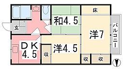 兵庫県姫路市御立西2丁目の賃貸マンションの間取り