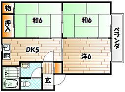 福岡県北九州市戸畑区三六町の賃貸アパートの間取り