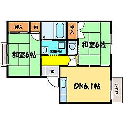 滋賀県大津市膳所1丁目の賃貸アパートの間取り