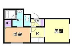 グランメール東札幌 4階1LDKの間取り