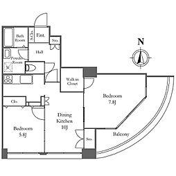東京メトロ有楽町線 月島駅 徒歩6分の賃貸マンション 15階1LDKの間取り