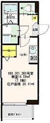 仮称:ハ−モニ−テラス・大阪市西淀川区歌島一丁目8B[201号室]の間取り