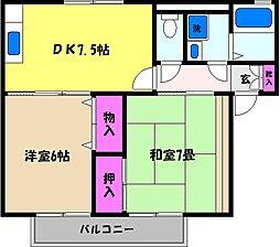 兵庫県芦屋市呉川町の賃貸アパートの間取り