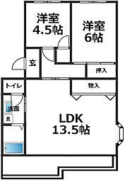 愛知県安城市桜町の賃貸マンションの間取り