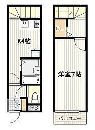 JR山陽本線 大野浦駅 徒歩10分の賃貸アパート 2階1Kの間取り