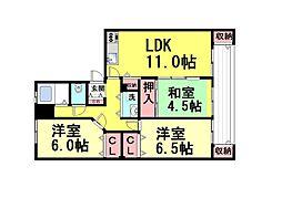 兵庫県神戸市東灘区住吉山手2丁目の賃貸マンションの間取り
