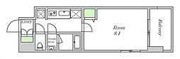 近鉄南大阪線 河堀口駅 徒歩7分の賃貸マンション 8階1Kの間取り