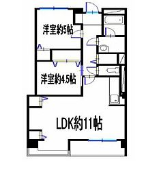 兵庫県姫路市網干区新在家の賃貸マンションの間取り
