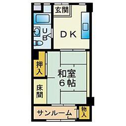 博多駅東三丁目住宅[605号室]の間取り