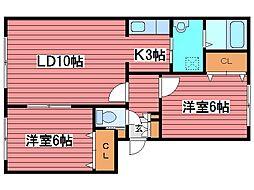コータス月寒東[4階]の間取り