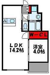 ソネット香住ケ丘III 4階1LDKの間取り