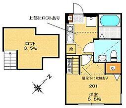 Steer Odasaga[201号室]の間取り