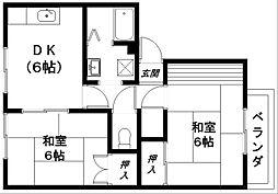 滋賀県近江八幡市鷹飼町の賃貸アパートの間取り