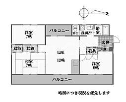 徳島県徳島市南佐古四番町の賃貸マンションの間取り