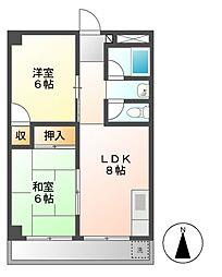 愛知県名古屋市千種区城山町2丁目の賃貸マンションの間取り