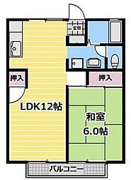 東京都練馬区田柄1丁目の賃貸アパートの間取り