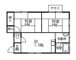 第一陽光荘[1階]の間取り