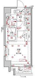 都営浅草線 東日本橋駅 徒歩8分の賃貸マンション 6階1Kの間取り