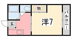 兵庫県姫路市市之郷1丁目の賃貸アパートの間取り