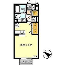 シンシアヒルズ 2階ワンルームの間取り