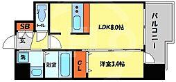 プレサンス南堀江 4階1LDKの間取り
