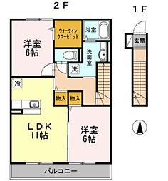 神奈川県横浜市旭区南本宿町の賃貸アパートの間取り