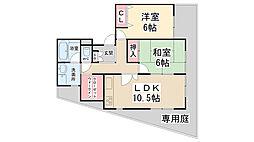 ロイヤルハウス萩原[1C号室]の間取り