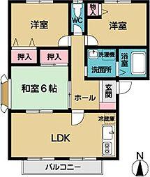 エクレールA・B[2階]の間取り