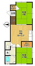 原島ハイツA[1階]の間取り