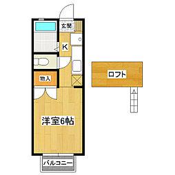茨城県つくば市下広岡の賃貸アパートの間取り